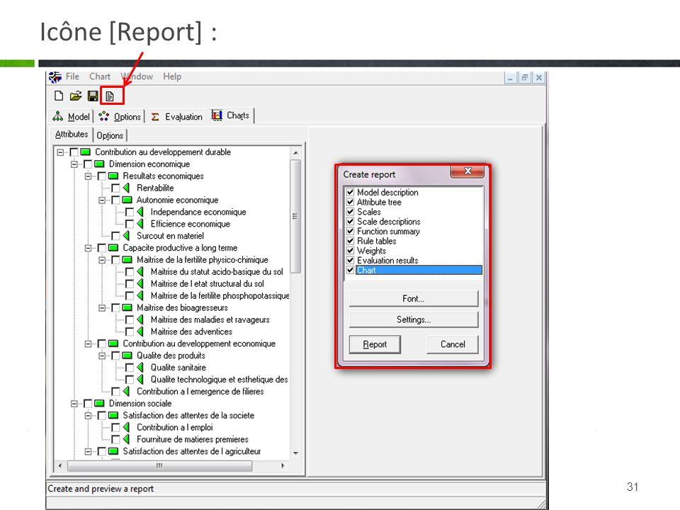 Icône [Report] :